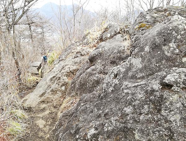 掃部ヶ岳山頂へ向かう道の岩