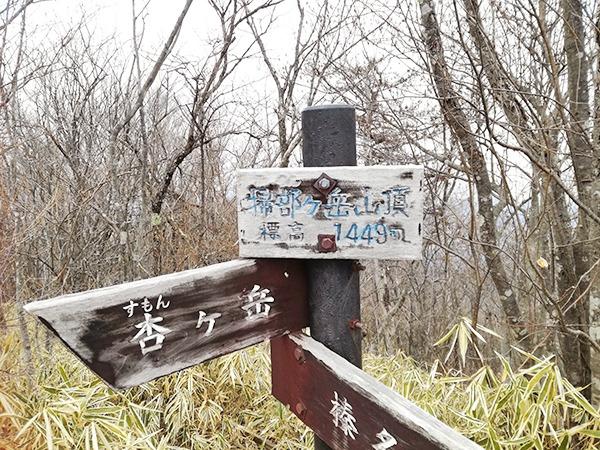 掃部ヶ岳山頂の看板