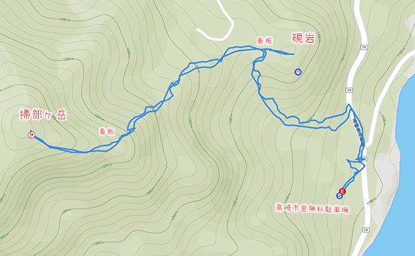 掃部ヶ岳での登山ルート