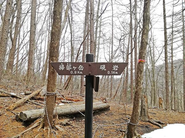 掃部ヶ岳登山道の看板