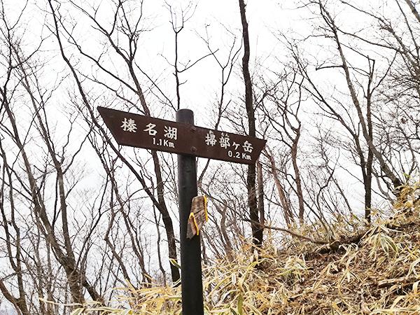 掃部ヶ岳山頂へ向かう道の看板