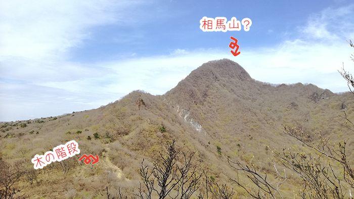 スルス岩へ登る途中の岩から見える相馬山