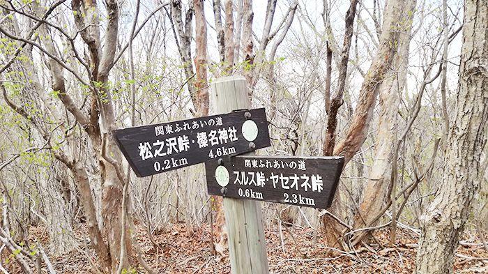 スルス岩から松之沢峠方面で下山する道にある看板