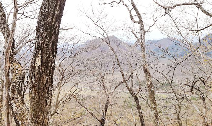 相馬山に向かう岩場の道からの風景