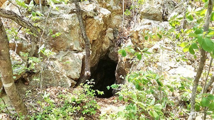 戸神山山頂から下山ルートの道にある洞穴