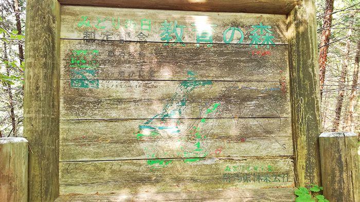 戸神山山頂から下山ルートの道にある看板