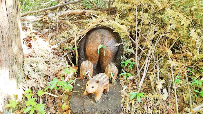 戸神山登山道にある木彫り