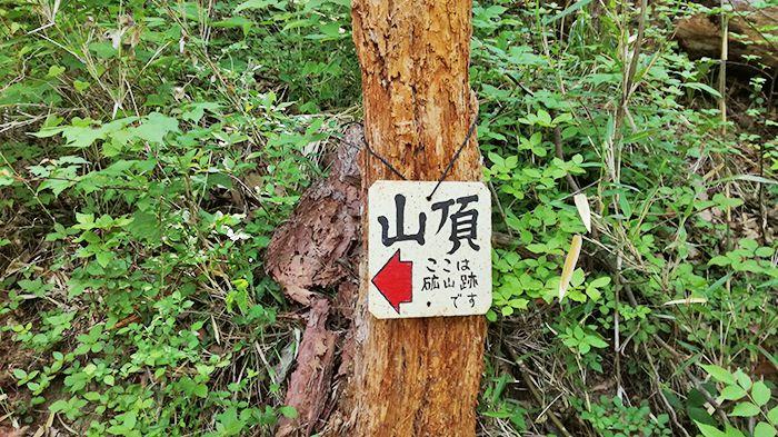 戸神山登山道の鉱山跡ルートの看板