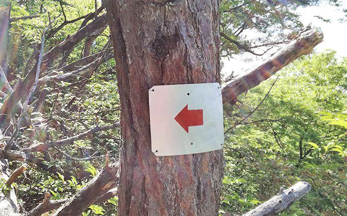 戸神山登山道の鉱山跡ルートにある看板