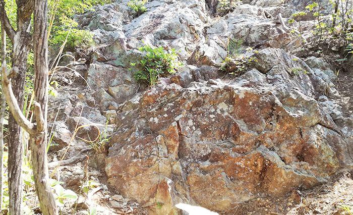 戸神山登山道の鉱山跡ルートの岩場
