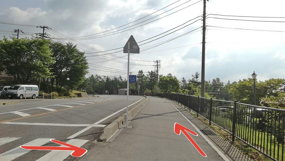 天狗山第一駐車場から天狗山第三駐車場への道