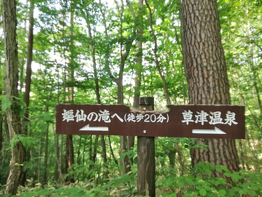 嫗仙の滝の自然遊歩道にある看板