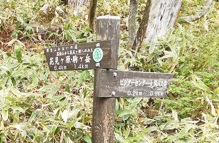 駒ヶ岳登山口にある看板