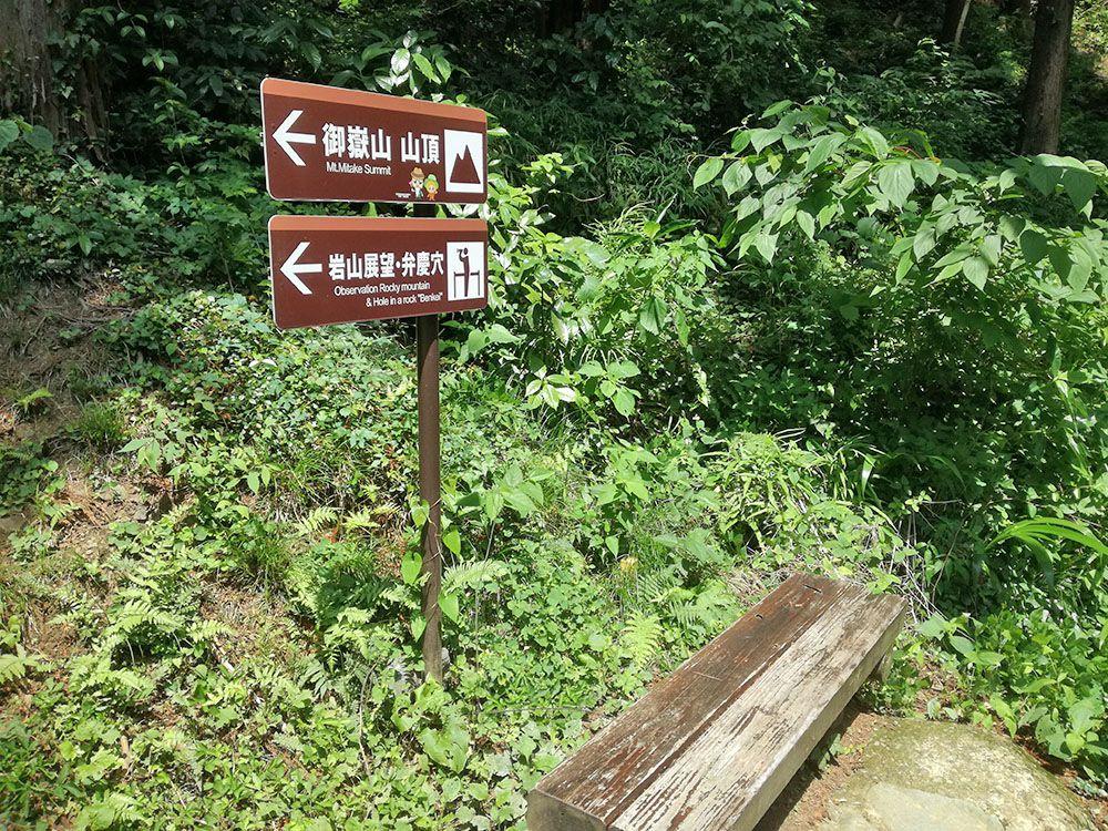 御嶽山の鏡岩の看板とベンチ