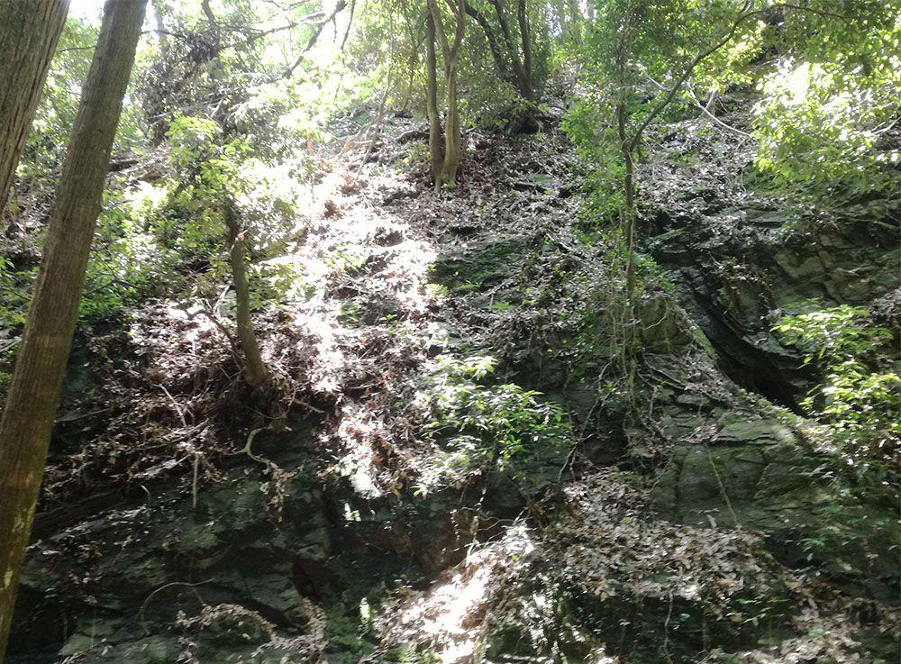 御嶽山の鏡岩から金鑚神社への道にある岩