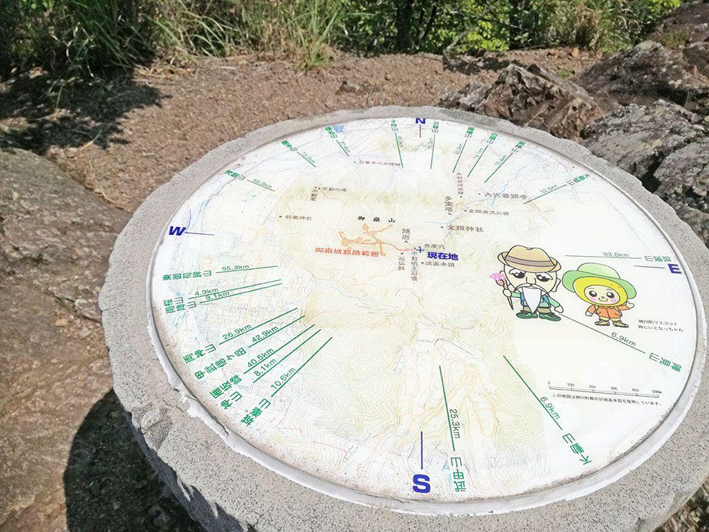 御嶽山の展望台にある看板