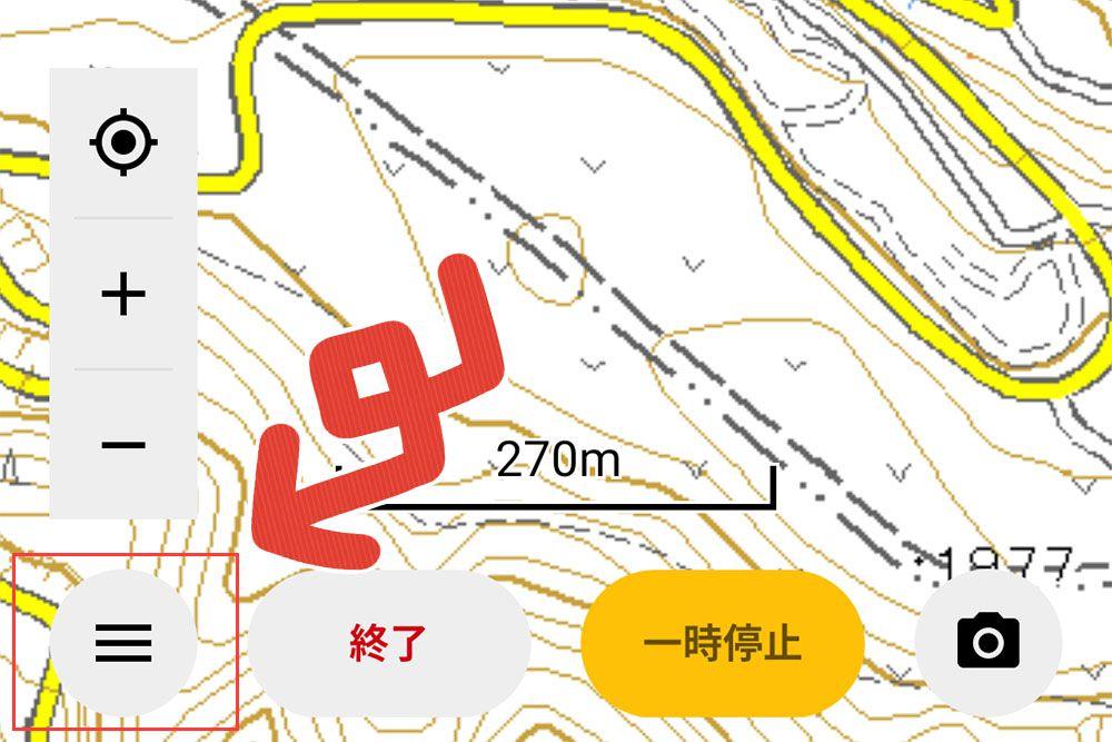 YAMAPアプリ内の地図