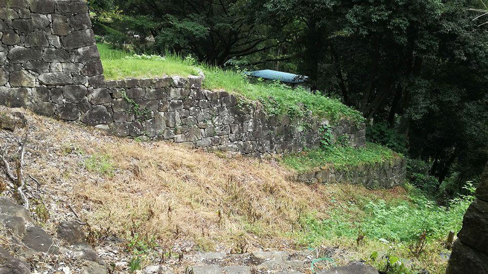 金山城跡の物見台下堀切と物見台下虎口周辺の木橋近くの竪堀