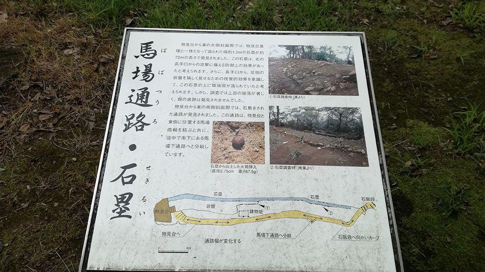 金山城跡の馬場下通路と石塁に関する説明看板