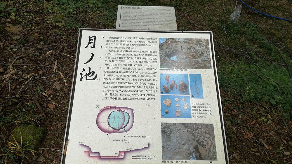 金山城跡の月ノ池の看板