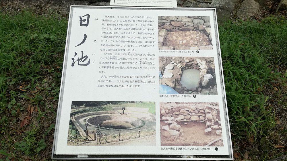 金山城跡の日ノ池の看板