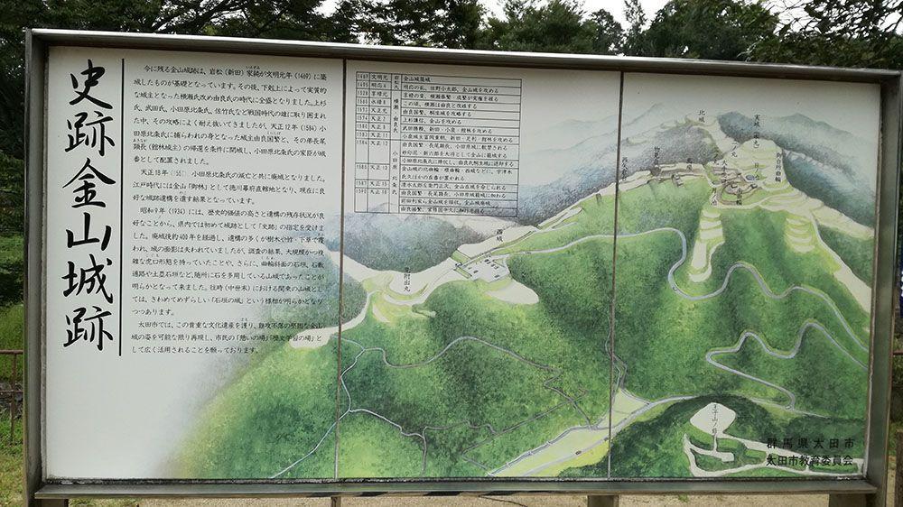 金山城跡の南曲輪休憩所にある看板
