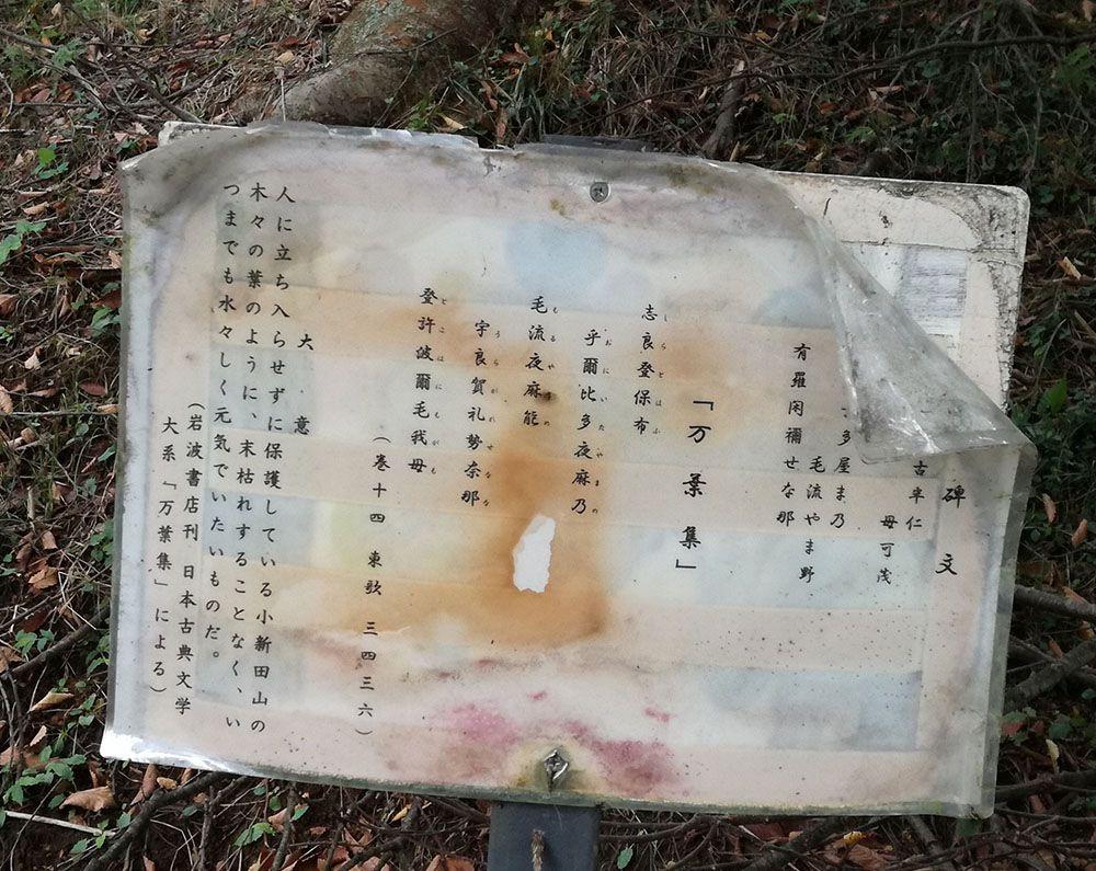 金山城跡の万葉歌碑の看板