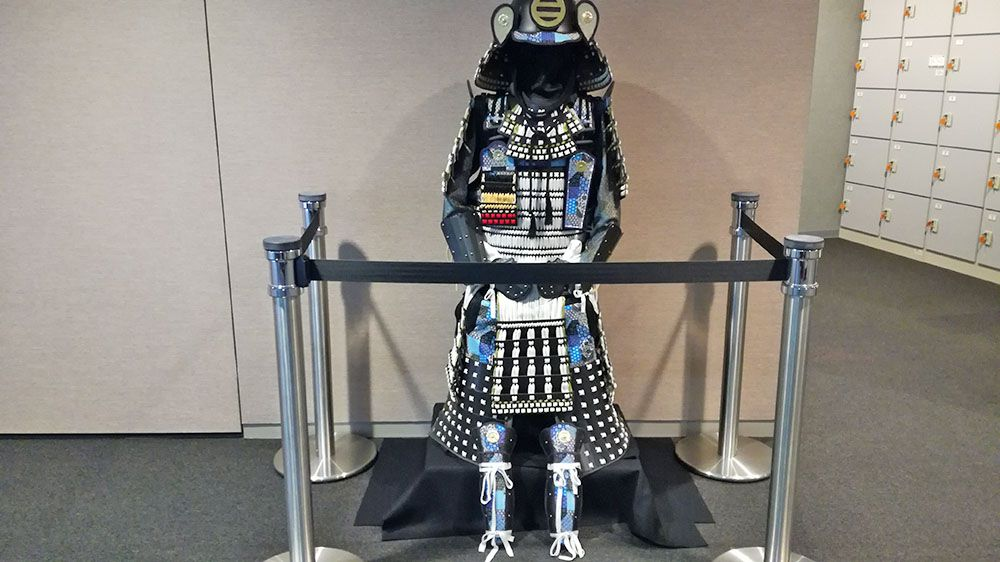 史跡金山城跡ガイダンス施設内にある職員作の甲冑
