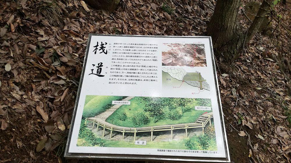金山城跡の西矢倉台西堀切の桟道の看板